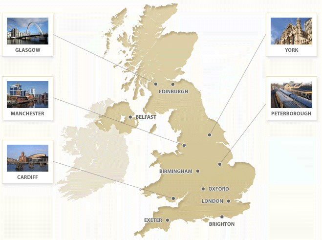 Map of the UK showing our venues, listed below
